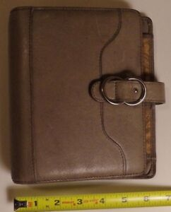 Franklin Covey Compact Taupe Full Grain Leather Planner Binder 1 Rings