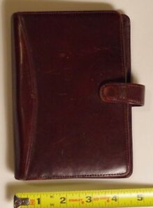 Franklin Covey quest Pocket 5 Rings Burgundy Calfskin Leather Planner binder