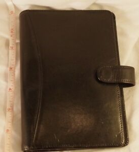 Franklin Covey quest Pocket 5 Rings Black Calfskin Leather Planner binder