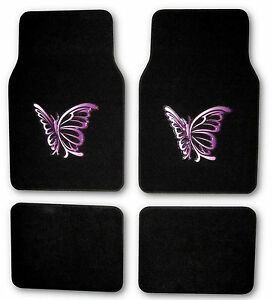 4pc Purple Butterfly Car Truck Front And Rear Carpet Floor Mats