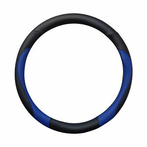 Double Sided Black And Blue Sporty Steering Wheel Cover 14 5 15 5 Universal