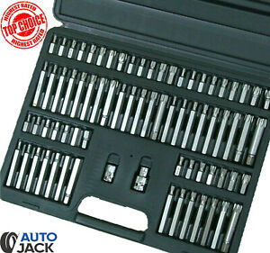 Autojack 74pc Hex Torx Star Security Spline Bit 3 8 1 2in Sq Dr Socket Set