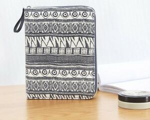 Notebook Vintage Blue Canvas Cover Zipper Wallet Card Holder Journal Note Book