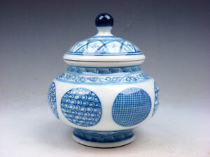 Blue White Glazed Porcelain Various Pattern Hand Painted Water Pot Jar 06291804