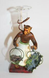 Antique Petite Choses Cast Iron Monkey Figurine W Shell Skirt Original Bud Vase