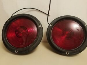 2 Nos Vintage Dietz No 4 29 Truck Brake Lamp Lights Red Flush Recessed Trailer