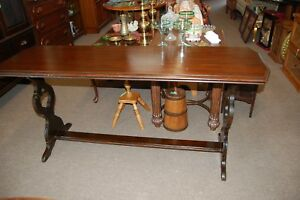 Vintage Antique Solid Wood Long Sofa Table Carved Rectangle Made Usa