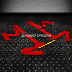 1x Universal 4 Point 2 Strap Drift Racing Safety Seat Belt Buckle Harness Red