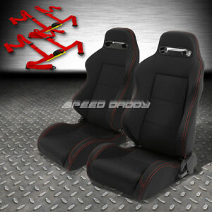 2x Type r Black Canvas Reclinable Racing Seat 4 point Red Harness Buckle Belt