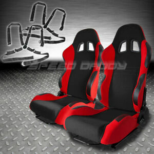 Driver Passenger T7 Black Red Reclinable Racing Seats Sliders 4 Pt Camlock Belts