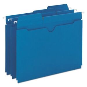 Smead Hanging Flat File Jackets 1 5 Tab Letter Blue 25 Per Box smd64200