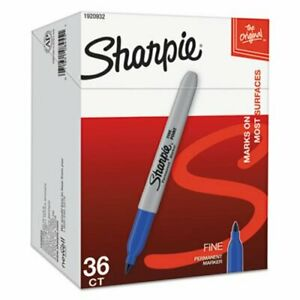 Sharpie 1920932 Permanent Marker Pack Fine Point Blue 36 Markers san1920932