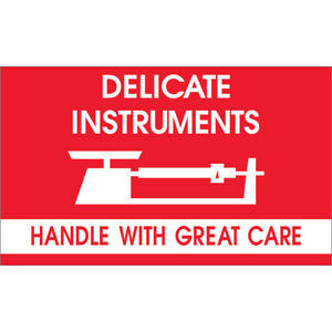 Tape Logic Labels delicate Instruments Hwc 3 X 5 Red white 500 roll Dl1340