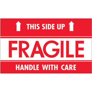 Tape Logic Labels fragile This Side Up Hwc 3 X 5 Red white 500 roll