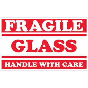 Tape Logic Labels fragile Glass Handle With Care 3 X 5 Red white 500 rol