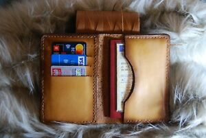Veg Tan Leather Slim Wallet Lion Logo Handtooled light Brown car fathers Day