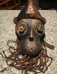 Large Kuba Mask Carved Wood And Raffia African Art
