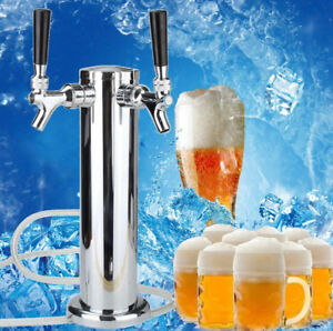 Stainless Steel Double Tap 2 Faucet Draft Beer Tower Bar Homebrew For Kegerato