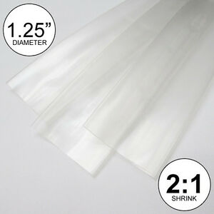 1 25 Id Clear Heat Shrink Tube 2 1 Ratio Wrap 2x24 4 Feet Inch ft to 30mm