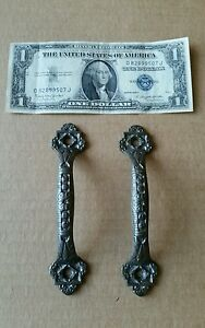 Pair Of Vintage Victorian Style Cast Iron Screen Door Handles Pulls Restored
