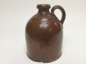 Antique Brown Jug Gallon Dark Salt Glazed Stoneware Beehive Whiskey Crock Old