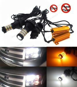 4x Plug play Switchback Front Parking Signal Led Lights Resistor For Silverado