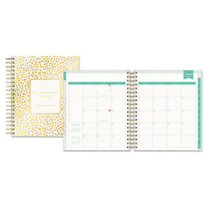 Blue Sky Day Designer Daily monthly Planner 8 X 10 Gold white 2019 103621