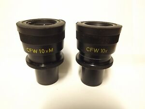 A Pair Of 23mm Nikon Cfw 10x Cfw 10x M Adjustable Microscope Eyepieces Wide