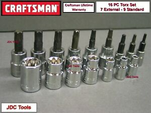 Craftsman Tools 16 Pc 1 4 3 8 Drive Torx And External Torx Socket Set 7 9
