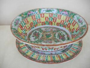 Chinese Rose Medallion Porcelain Reticulated Bowl Basket Under Plate