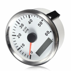 Tachometer 6000rpm 85mm Marine Car Boat Yacht Diesel Engine Gauge Led Hour Meter