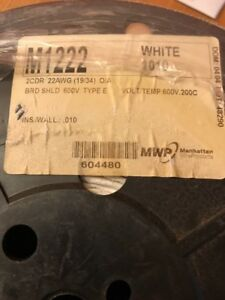 M1222 Manhattan Wire Products 22 Awg 2 Cdr White 600v 200c Nos