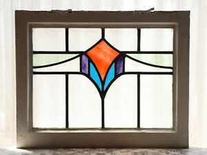 Antique Stained Glass Window Four 4 Color Art Deco Swag 3136