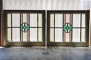 Pair Of Antique Stained Glass Windows Five 5 Color Craftsman Style 3139