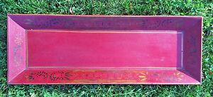 Antique Folk Art Tin Tole Toleware Painted Red Gold Long Square 22 Tray Aafa
