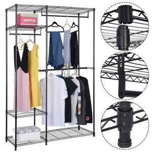Closet Organizer Shelf Rack 4tier Iron Clothes Storage Hanger Home Garment Shelf