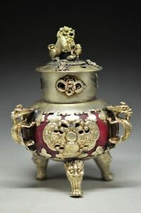 Distinctive China Jade Inlay Tibetan Silver Three Legs Incense Burner