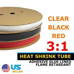 3 1 Ratio Dual Wall Glur Lined Heat Shrink Tube Heatshrink Cable Wire Wrap 20ft
