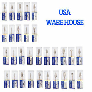 30 Packs Dental Tungsten Carbide Steel Polishing Burs Tips Marathon Polisher Usa