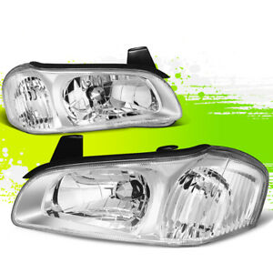 For 00 01 Nissan Maxima Chrome Housing Clear Croner Headlight Lamps Left Right