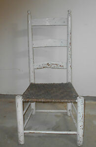 Antique Primitive White Shaker Style Buggy Chair