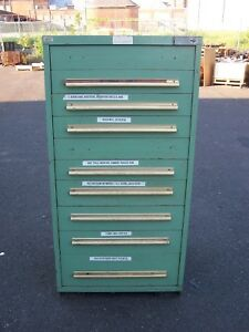 Equipto Green 10 Drawer Industrial Tool parts Cabinet 30 l X 28 w X 59 H
