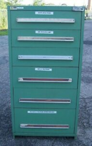 Stanley Vidmar Green 6 Drawer Industrial Tool parts Cabinet 30 l X 28 w X 59 H