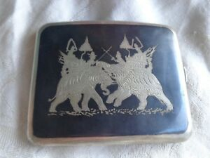 Vintage Sterling Siam Niello Enamel Elephant Battle Cigarette Case 101 8 Grams