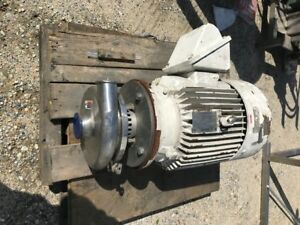 Used Waukesha Model 2085 Sanitary Pump 3 x 2 5 Has 30 Hp 3525 Rpm Motor