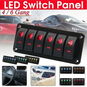 12v 20a 24v 10a Rocker Switch Panel Breaker 4 6 Gang Led Light Car Marine Boat