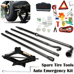All In One Roadside Assistance Auto Emergency Kit Scissor Jack Spare Tire Tools