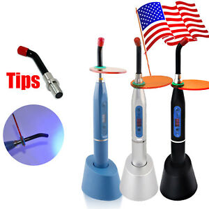 Us 10w Dental Wireless Cordless Led Curing Light Lamp 2000mw Cures optional Tips