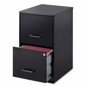 Lorell 2 drawer Steel File Cabinet 14 1 4 X 18 X 24 1 2 Black llr14341