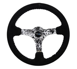 Nrg Reinforced Steering Wheel 350mm 3in Deep Black Suede Hydrodipped Digi Camo